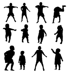 kids silhouette set vector image