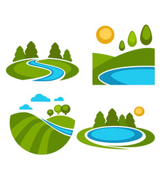 lakes and nature landscapes set with sun vector image