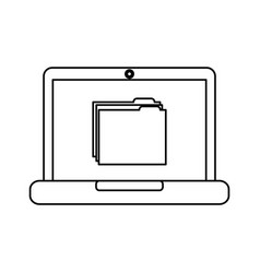 laptop computer folder file document information vector image