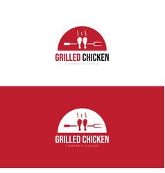 logo grilled chicken restaurant vector image