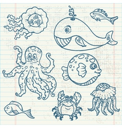 marine life doodles vector image