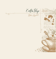 menu for coffee house with coffee cup and vector image