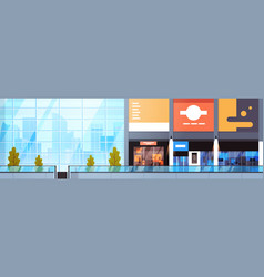 Modern shopping mall empty horizontal banner big vector