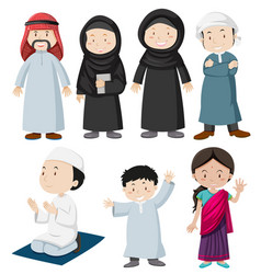 Muslim people in traditional costume vector