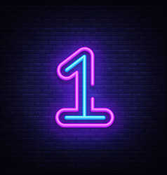 Number one symbol neon sign first number vector