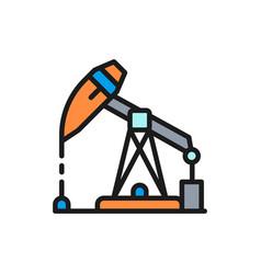 oil rig petrol station pump jack flat vector image