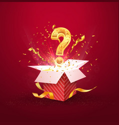 Open textured red box with question sign and vector