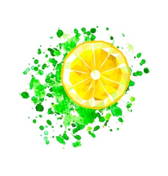 Origami lemon slice with watercolor splash vector