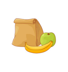 Paper lunch bag and apple with banana for break in vector