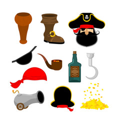 pirate set pirates hat eye patch and smoking pipe vector image