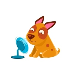 Puppy Playing With Fan Blowing In Its Face vector