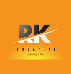 Rk r k letter modern logo design with yellow vector