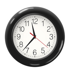 Round wall clock in black body isolated on white vector