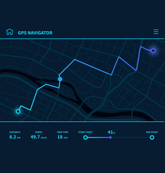 route dashboard futuristic route ui gps tracking vector image