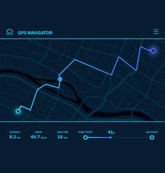 Route dashboard futuristic ui gps tracking vector