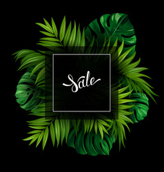 Sale banner with tropical palm and monstera leaves vector