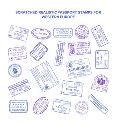 Scratched visa travel stamps isolated on white vector