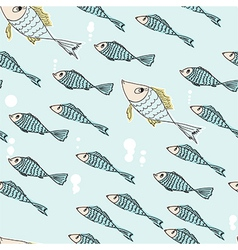 Seamless pattern of swimming fish vector