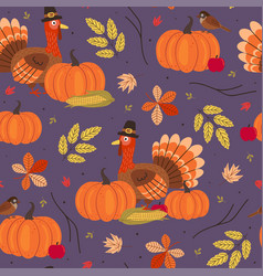 seamless pattern with thanksgiving day elements vector image