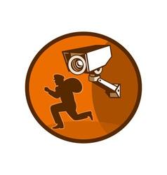 Security surveillance camera burglar thief running vector