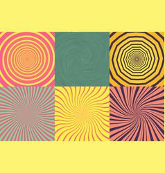 set different psychedelic spiral vortex twirl vector image
