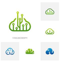 set of cloud tech logo design concept tech cloud vector image