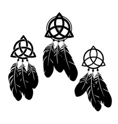 set three dream catchers with feathers vector image