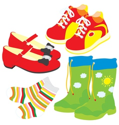 Shoes socks gumboots and boots vector