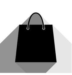shopping bag black icon with vector image