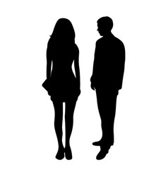 silhouettes a man and a woman vector image