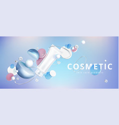 Skin care cosmetic with holographic background vector