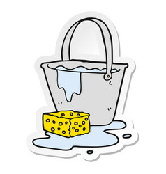 Sticker of a cartoon bucket of soapy water vector