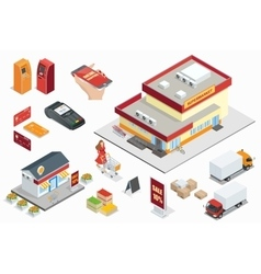 Supermarket exterior minimarket exterior credit vector
