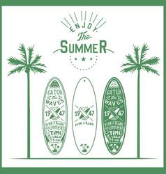 surf board poster lettering logo hand vector image