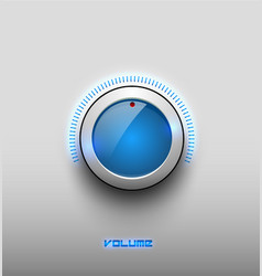 technology music blue glow glossy button icon vector image