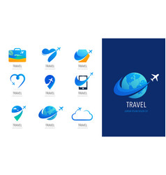 travel tourism agency logo design icons and vector image