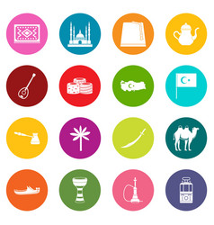 Turkey travel icons many colors set vector