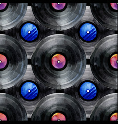 watercolor vinyl records pattern vector image
