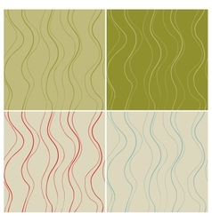 Wavy lines seamless patterns set vector image