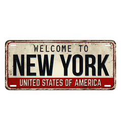 Welcome to new york vintage rusty metal plate vector