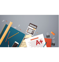Workplace desk documents papers folder office vector