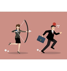 Business woman try to shoot at apple on colleague vector image