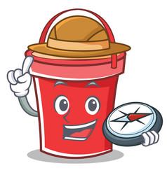 compass bucket character cartoon style vector image