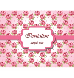 Invitation card with pink roses vector image