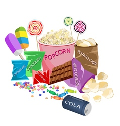 A Collection of Various Cinema Foods vector image vector image