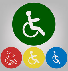 disabled sign 4 white styles vector image vector image