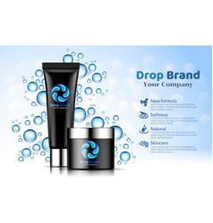 hand cream black tube bottle blue drop background vector image vector image