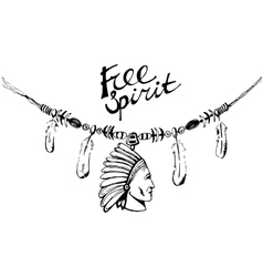 Hand drawn ink necklace boho style free spirit vector image vector image