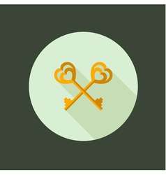 Key couple circle icon flat design vector