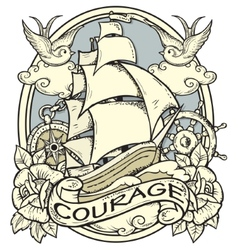 Ship Tattoo vector image vector image